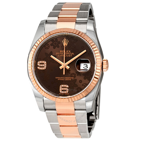 Rolex Oyster Perpetual Datejust 36 Chocolate Floral Diamond Dial Steel & 18K Everose Gold Unisex Watch 116231CHFDAO | Joma Shop