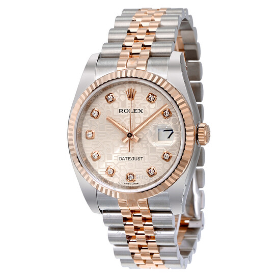 Rolex Oyster Perpetual Datejust 36 Silver Dial Stainless Steel and 18K Everose Gold Jubilee Bracelet Automatic Men's Watch 116231SJDJ   Joma Shop