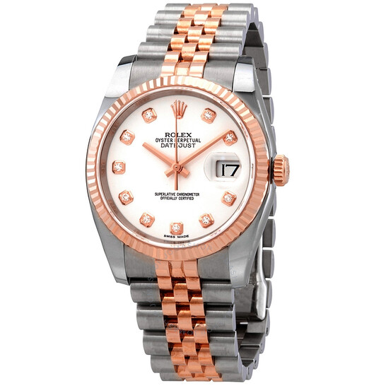 Rolex Oyster Perpetual Datejust 36 White Dial Stainless Steel and 18K Everose Gold Jubilee Bracelet Automatic Men's Watch 116231WDJ | Joma Shop