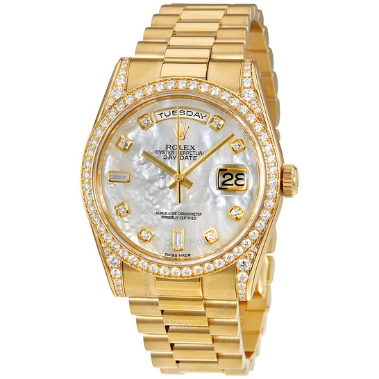 Rolex Oyster Perpetual Mother of Pearl Diamond 18K Yellow Gold Ladies Watch 118388MDP   Joma Shop