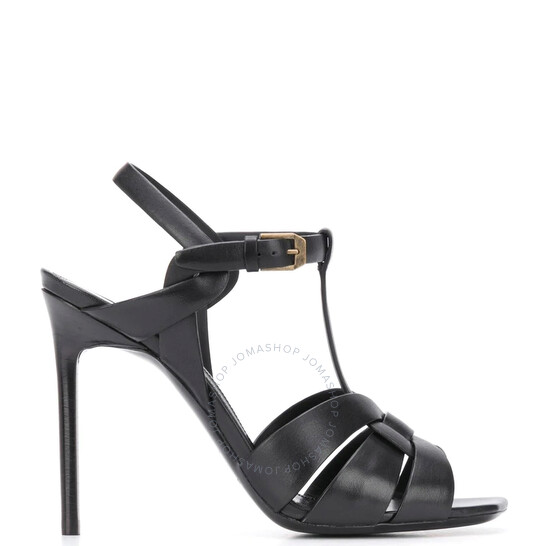 Saint Laurent Ladies Black Smooth Leather 105 MM Tribute Sandals, Brand Size 36 (US Size 6)   Joma Shop
