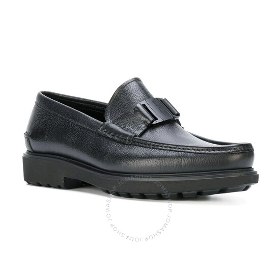Salvatore Ferragamo Gancini Moccasin in Black Leather, Brand Size 10 | Joma Shop