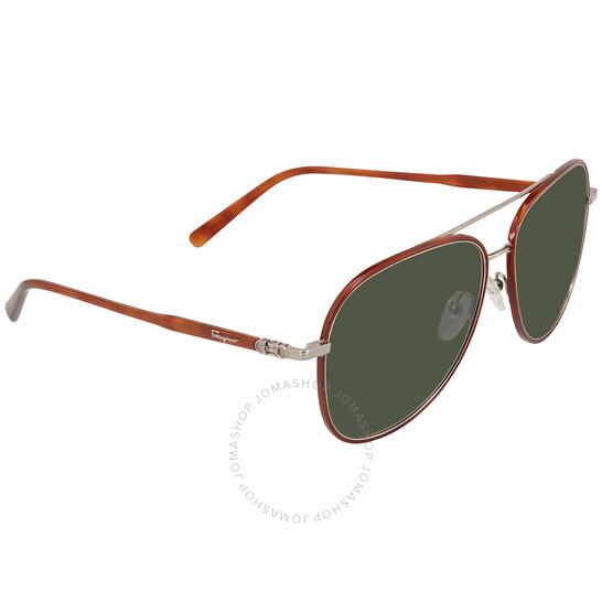 Salvatore Ferragamo Green Aviator Men's Sunglasses (SF181S 214 60)