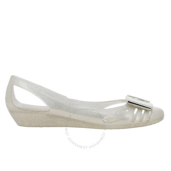 Salvatore Ferragamo Ladies Silver Vara Bow Jelly Ballet Flats, Brand Size 9 | Joma Shop