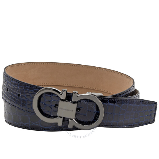 Salvatore Ferragamo Men's Adjustable Crocodile Leather Gancini Belt, Brand Size 105 CM | Joma Shop