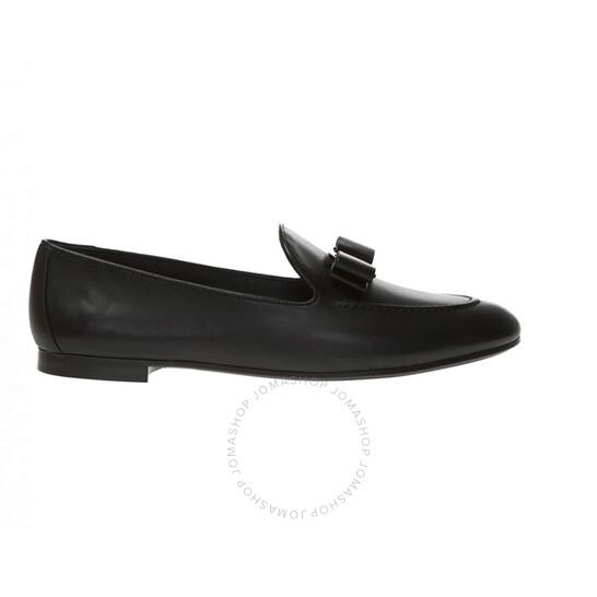 Salvatore Ferragamo Vara Bow Moccasin in Black, Brand Size 6.5 | Joma Shop
