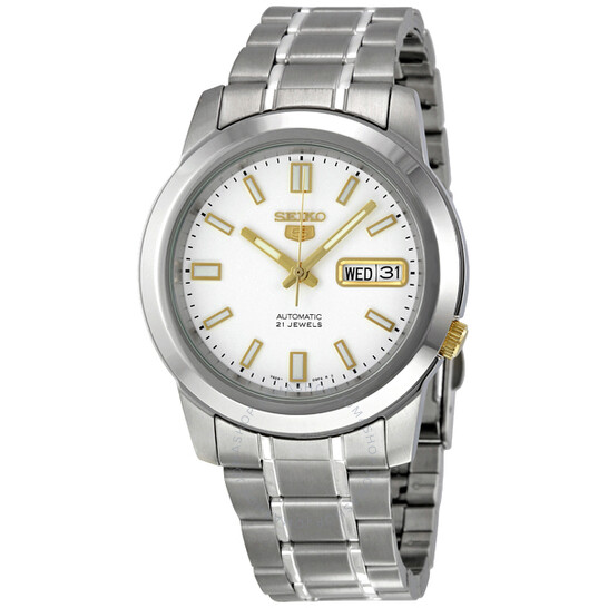 Seiko 5 Automatic Stainless Steel White Dial Men's Watch SNKK07   Joma Shop