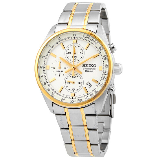 Seiko Chronograph Quartz White Dial Men's Watch SSB380   Joma Shop