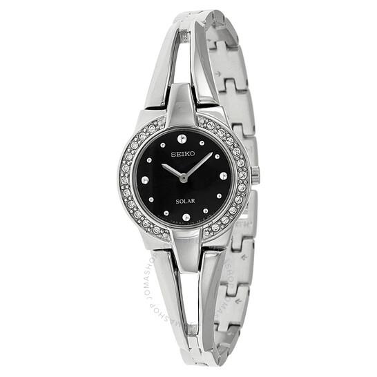 Seiko Solar Black Dial Stainless Steel Ladies Watch SUP205 | Joma Shop
