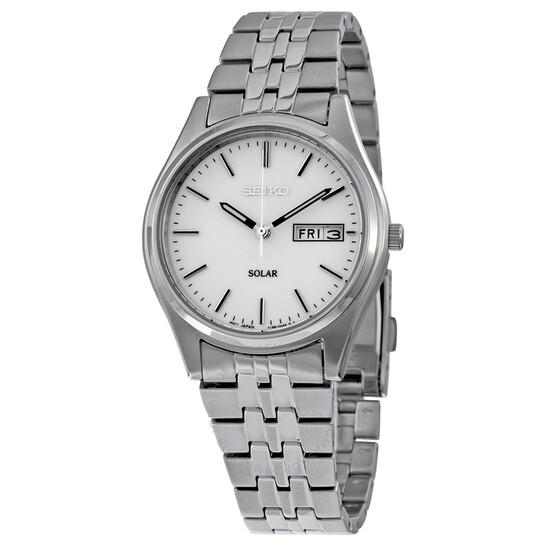 Seiko Solar White Dial Men's Watch SNE031 | Joma Shop