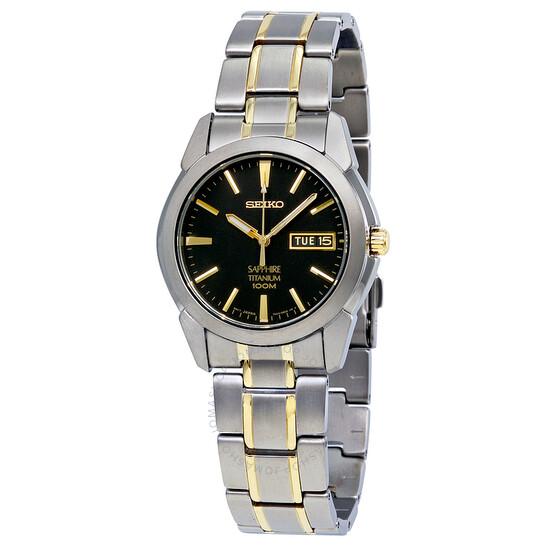 Seiko Black Dial Two-tone Titanium Men's Watch SGG735 | Joma Shop