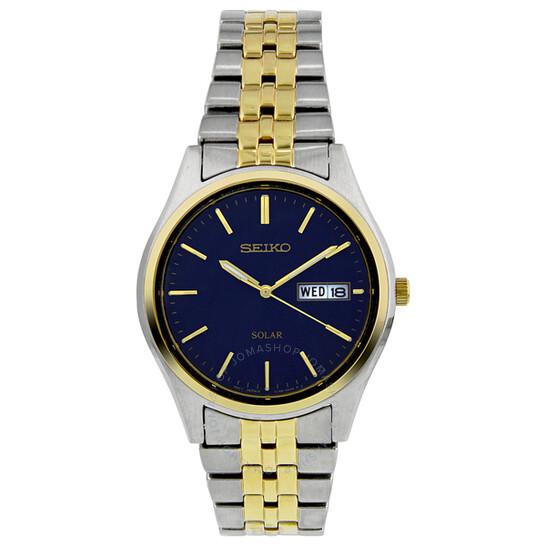 Seiko Solar Blue Dial Two-tone Men's Watch SNE034 | Joma Shop