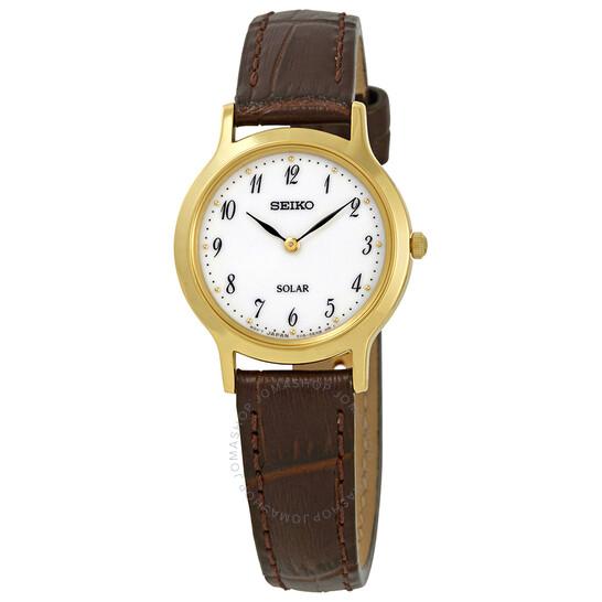 Seiko Solar White Dial Brown Leather Ladies Watch SUP370P1 | Joma Shop