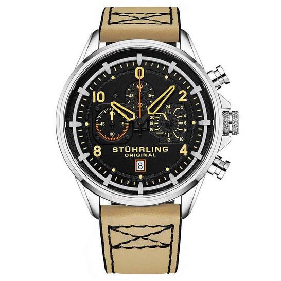 Stuhrling Original Aviator Black Dial Men's Watch (M15552)