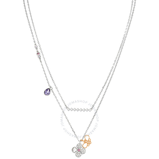 Swarovski Glowing Clover Necklace, Purple 5273297
