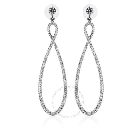 Swarovski Infinity Hoop Pierced Earrings, White, Rhodium Plated | Joma Shop