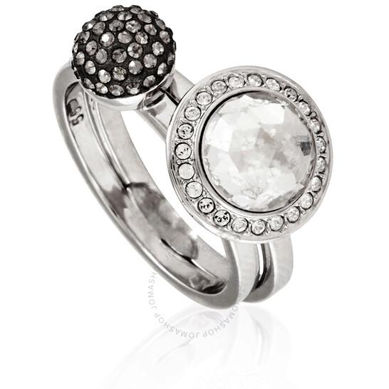 Swarovski Ladies White, Rhodium Plating Hote Ring Set Size 58   Joma Shop
