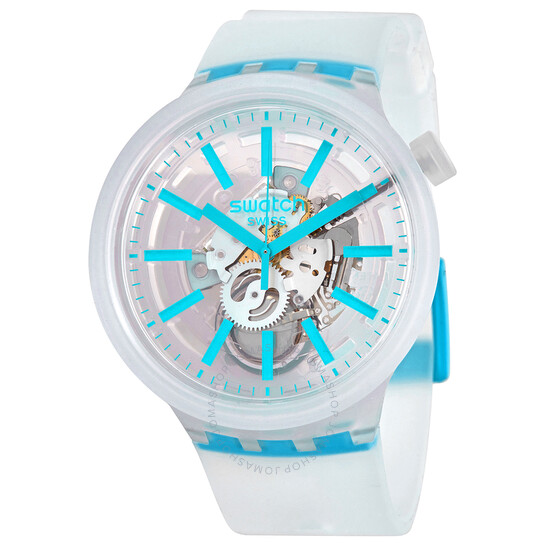 Swatch Blue-In-Jelly Quartz White Skeleton Dial Watch SO27E105   Joma Shop
