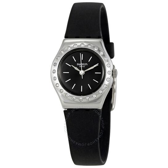 Swatch Camanoir Crystal Grey Dial Black Silicone Ladies Watch YSS312 | Joma Shop
