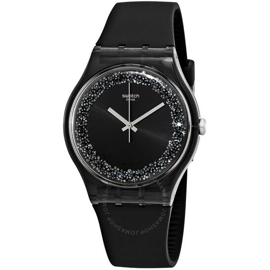 Swatch Darksparkles Black Dial Black Silicone Ladies Watch SUOB156 | Joma Shop