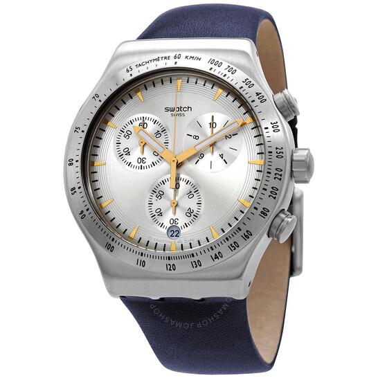 Swatch Irony Darkmeblue Chronograph Quartz Silver Dial Watch YVS460   Joma Shop