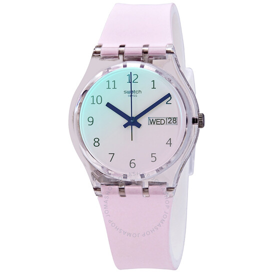 Swatch Ultrarose Quartz Ombre Dial White Pink Silicone Ladies Watch GE714 | Joma Shop