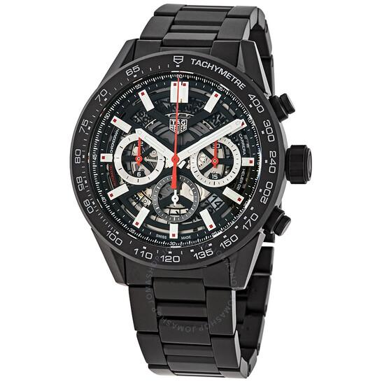 Tag Heuer Carrera Chronograph Automatic Black Skeleton Dial Men's Watch CBG2A90.BH0653 | Joma Shop