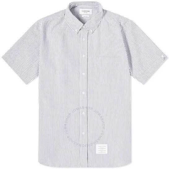 Thom Browne Blue Seersucker Stripe Short Sleeve Shirt