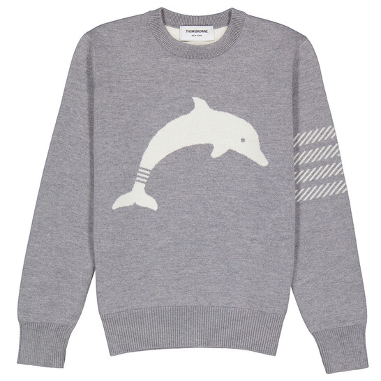 Thom Browne Light Grey Dolphin Icon Intarsia Wool Blend Pullover