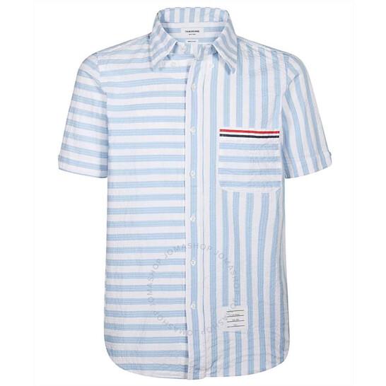 Thom Browne Mens Light Blue Seersucker University Stripe Shirt