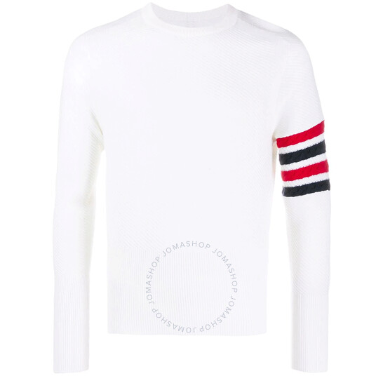 Thom Browne Mens White 4-Bar Diagonal Stitch Crew Neck Sweater
