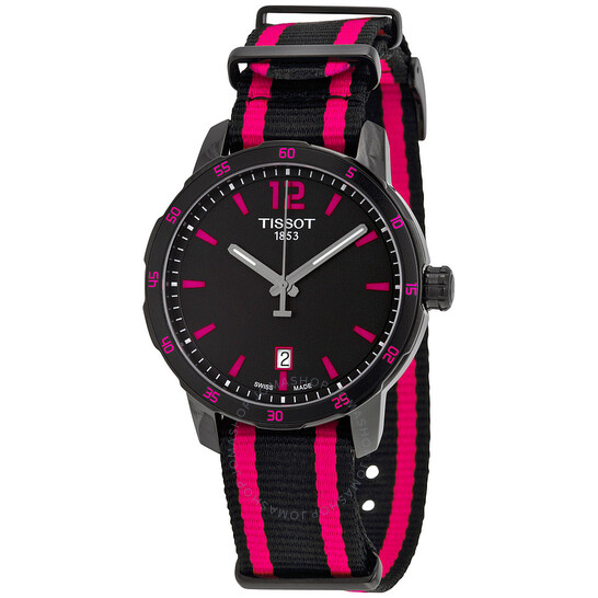 Tissot Quickster Black Dial Black and Hot Pink Nylon Ladies Watch