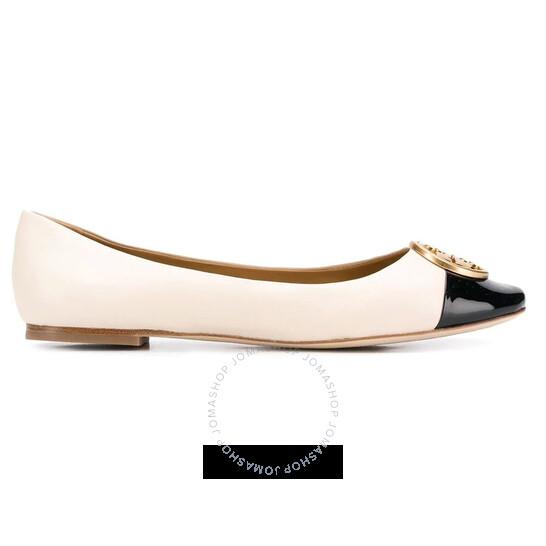 Tory Burch Cream/Black Chelsea Cap-Toe Ballet Flats, Brand Size 6   Joma Shop