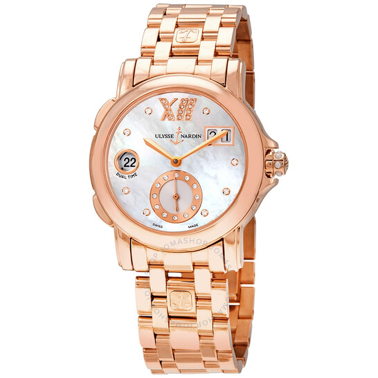Ulysse Nardin GMT Dual Time Mother of Pearl Dial 18kt Polished Rose Gold Automatic Ladies Watch 246-22-8-391   Joma Shop