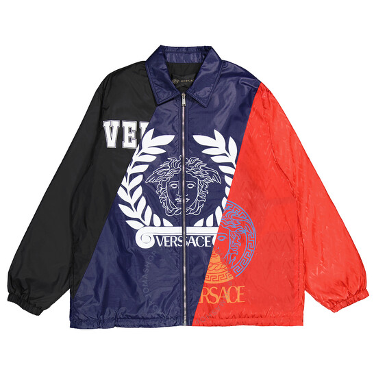 Versace Mens Compilation Logo Tri-Color Jacket