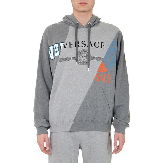 Versace Mens Grey Medusa Logo-print Hoodie