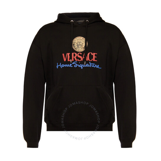 Versace Mens Home Signature Logo Hoodie In Black