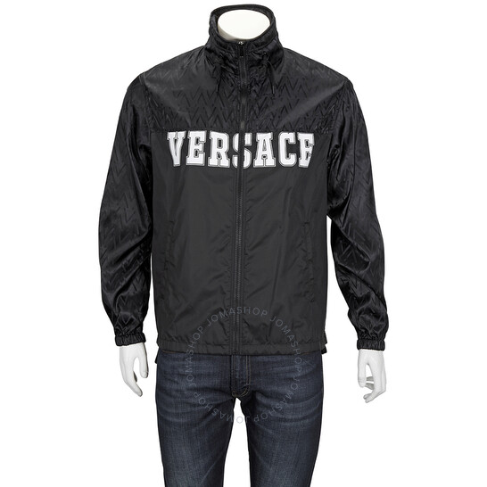 Versace Mens Medusa Logo Hooded Nylon Jacket In Black