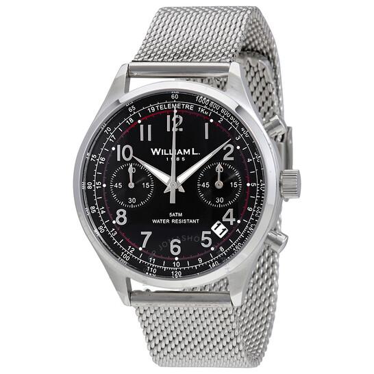 William L 1985 Vintage Chronograph Black Dial Men's Watch WLAC01NRMM   Joma Shop