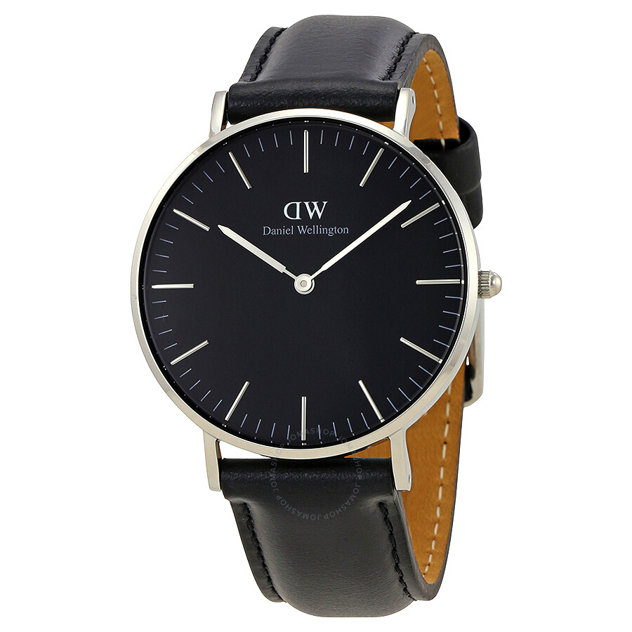 daniel wellington classic black sheffield silver 36mm. Black Bedroom Furniture Sets. Home Design Ideas