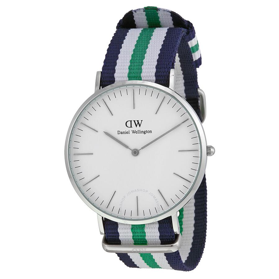 Daniel Wellington Classic Nottingham Eggshell White Dial NATO Strap Men's Watch 0208DW ...