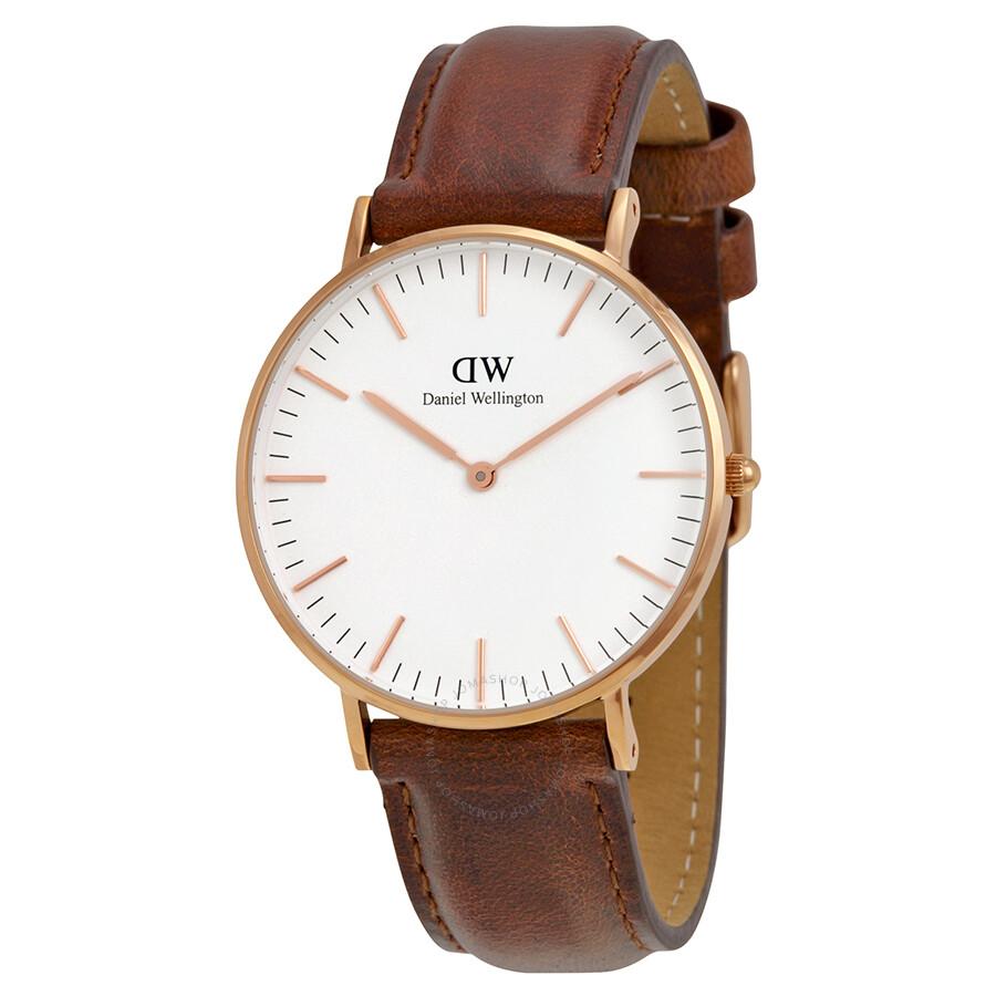 512c125f565a1 Daniel Wellington St Andrews White Dial Brown Leather Ladies Quartz Watch  0507DW ...