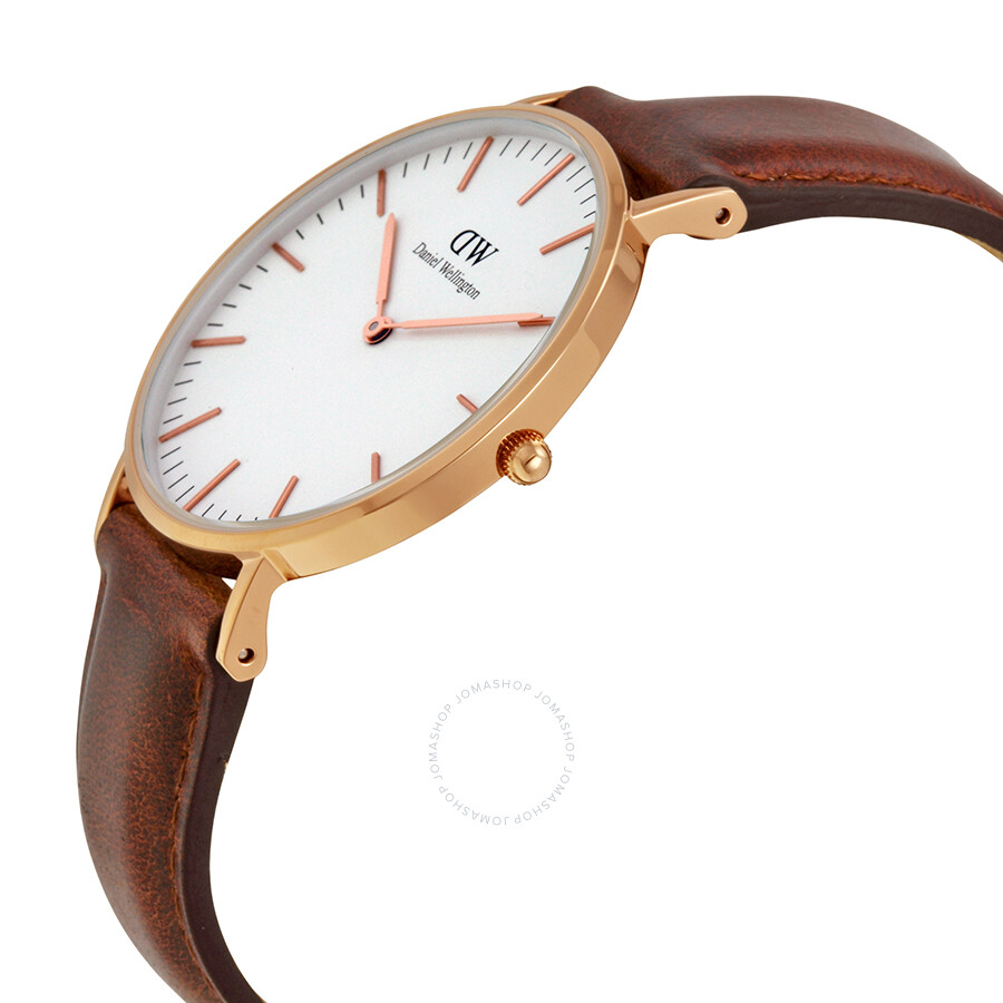 d4beeaf0392b4 ... Daniel Wellington St Andrews White Dial Brown Leather Ladies Quartz  Watch 0507DW ...