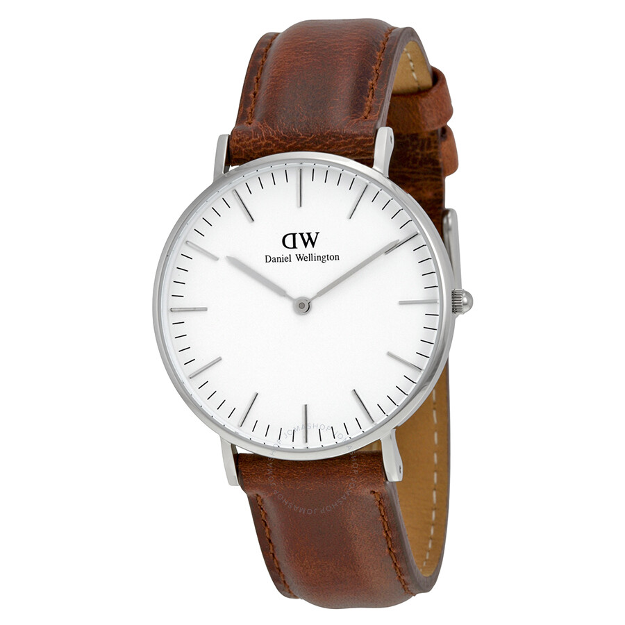 daniel wellington classic st mawes white dial brown leather ladies watch 0607dw daniel. Black Bedroom Furniture Sets. Home Design Ideas