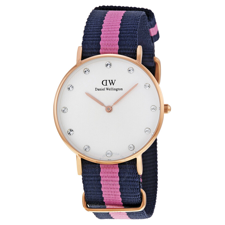 b970eaac2b25 Daniel Wellington Classy Winchester White Dial Navy and Pink Stripe Nylon  NATO Ladies Watch 0952DW Item No. 0952DW