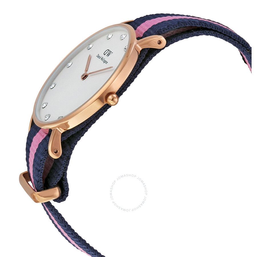 1ed2650e8811 ... Daniel Wellington Classy Winchester White Dial Navy and Pink Stripe  Nylon NATO Ladies Watch 0952DW ...
