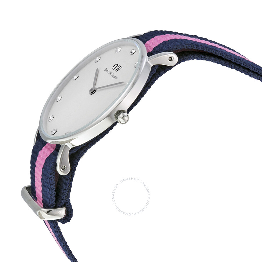 3351b392b096 ... Daniel Wellington Classy Winchester White Dial Navy and Pink Stripe  Nylon NATO Ladies Watch 0962DW ...