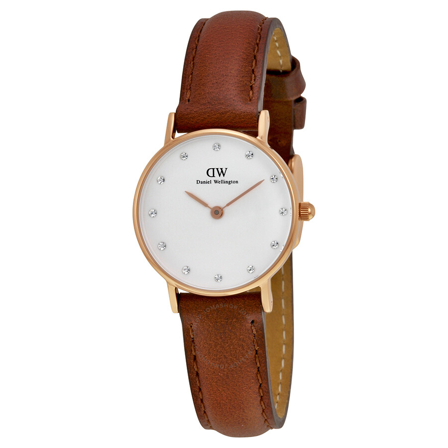daniel wellington st mawes white dial brown leather ladies watch 0900dw daniel wellington. Black Bedroom Furniture Sets. Home Design Ideas