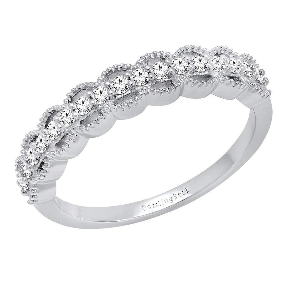 10K Ladies White Gold Black Diamond Prong Wedding Engagement Band Ring 1//4 Ct