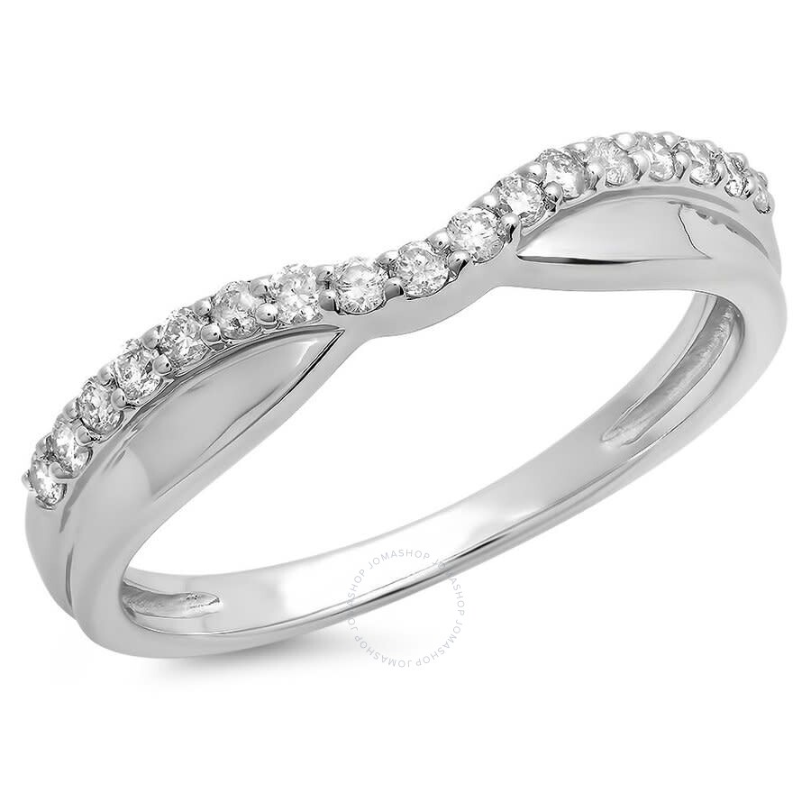 14K White Gold Round Diamond Wedding Guard Contour Band 1//4 CT Size 6.5